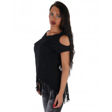 Topp Black Fringed