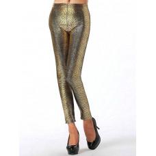 Leggings - Wet Look snake Gold