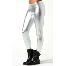 Leggings -  Wet Look Silver