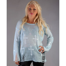 Blue Cross Print Jumper